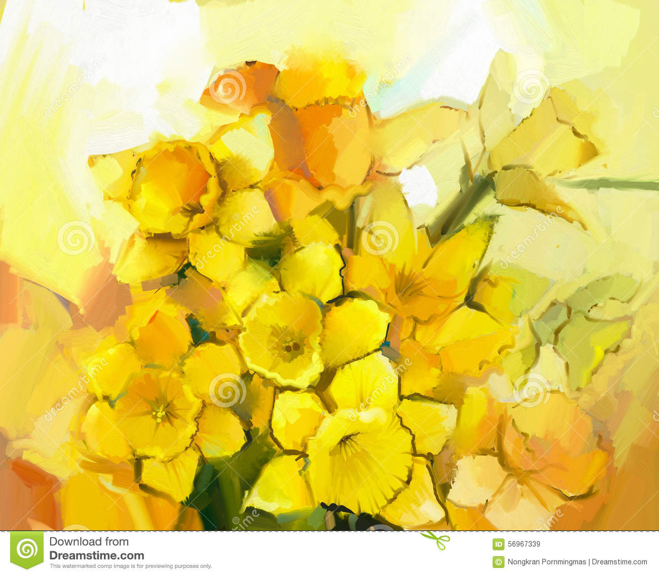 Still Life Of Yellow And Orange Color Flowers Stock Illustration