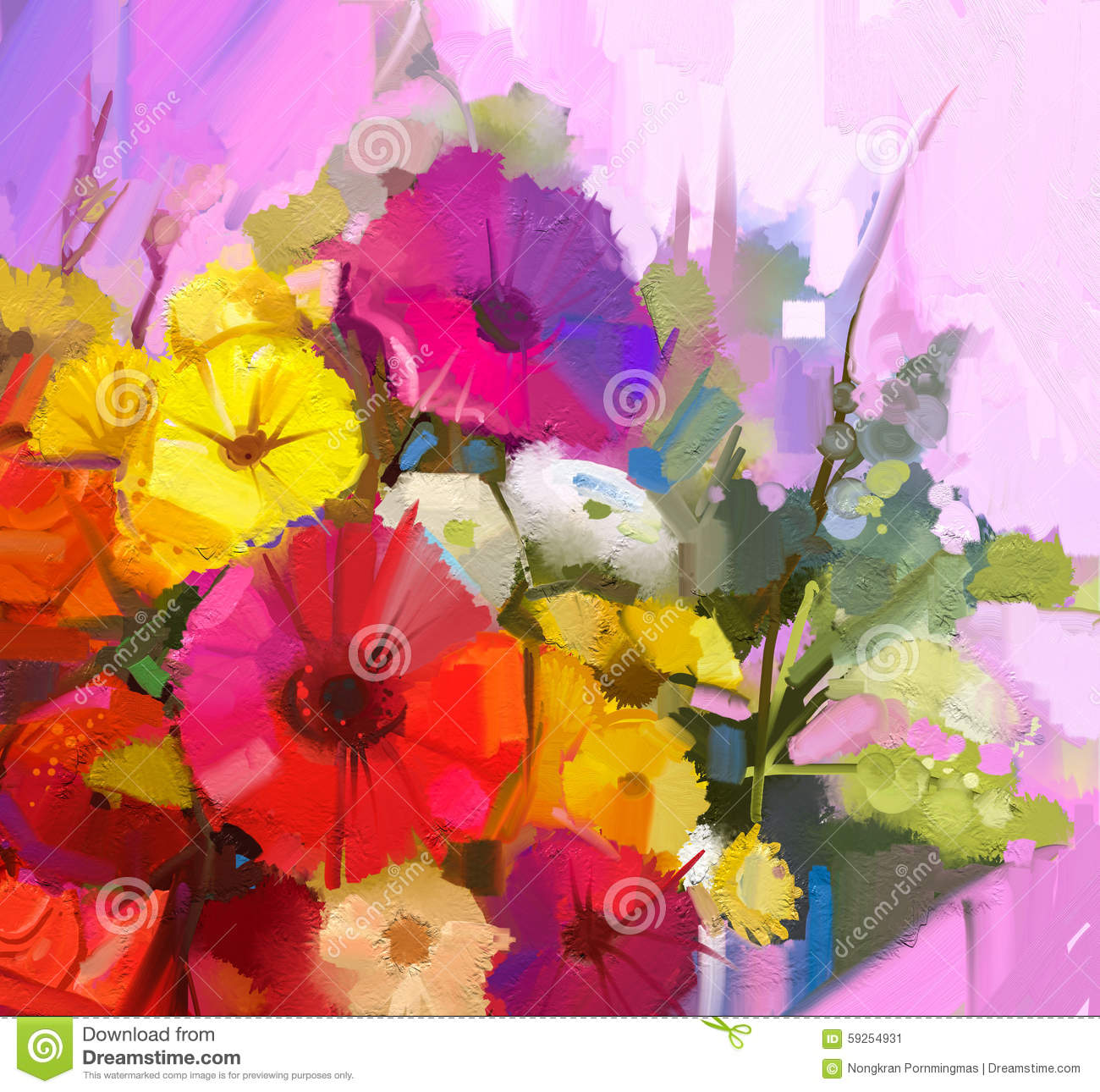 Still Life Of Yellow And Red Color Flowers Oil Painting A Bouqu