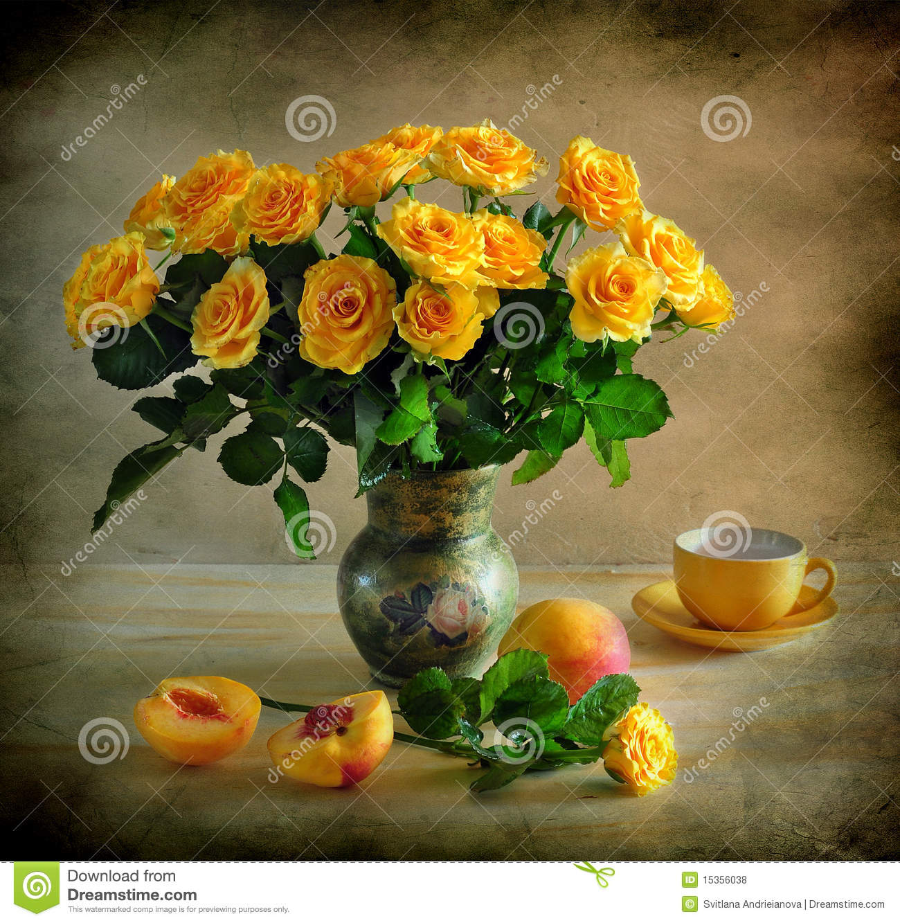 Still Life With Yellow Roses Royalty Free Stock Photos Image 15356038