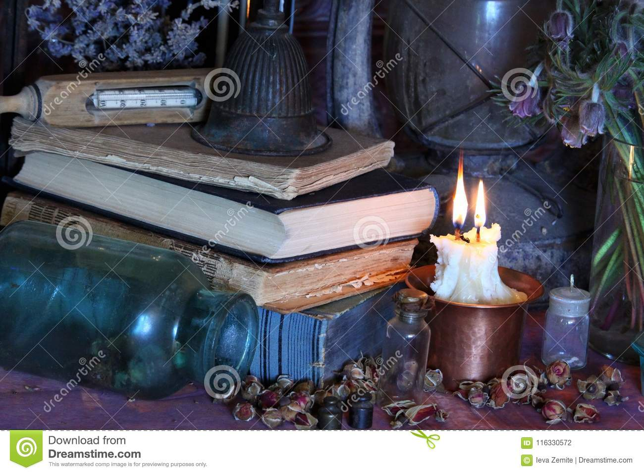Black Magic Spells  Wiccan Spells And Herbs  Stock Photo - Image of