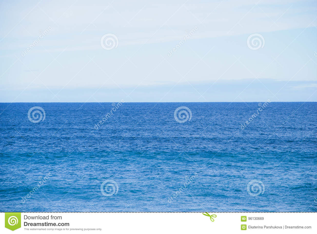 Still Ocean Horizon, No Waves, No Objects In View, Straight Water
