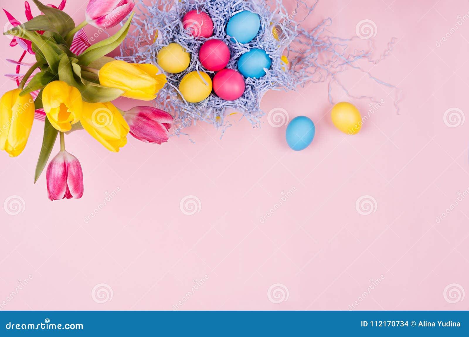 Stilla elegant mjuk pastellfärgad easter garnering - målade ägg, gula tulpan, muffin på rosa bakgrund, kopieringsutrymme, bästa s