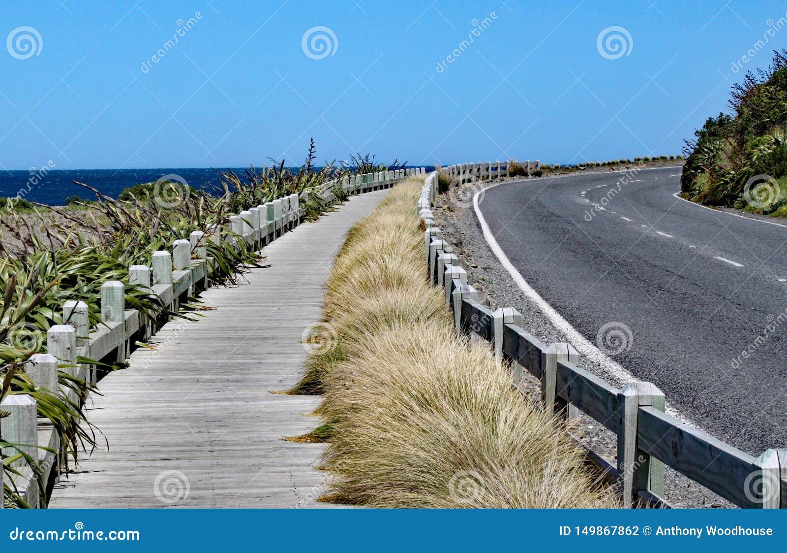 Stille en vreedzame kustweg en houten promenade dichtbij Wellington, Nieuw Zeeland