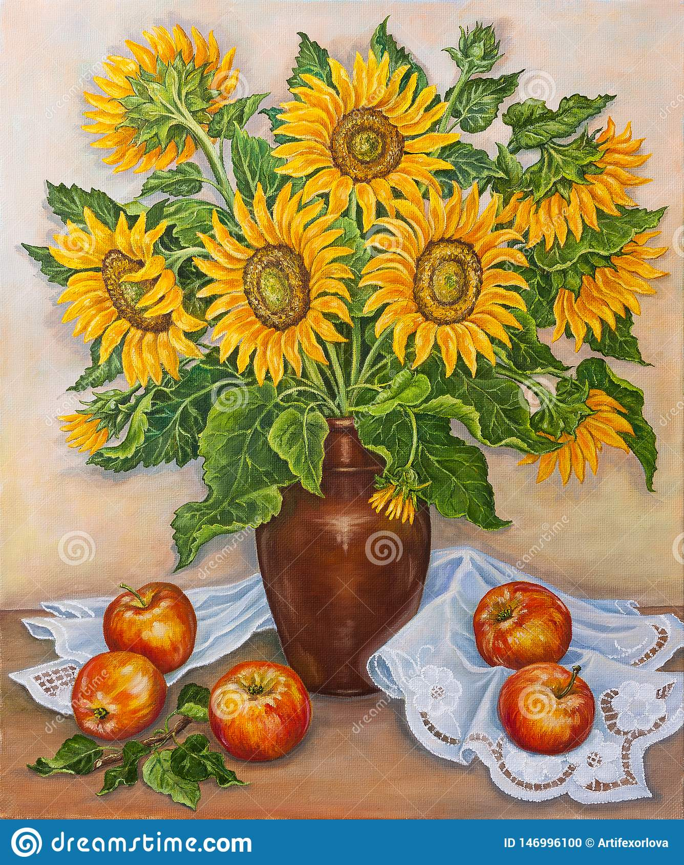 Stilleben - härliga blommande solrosor i vas på tabellen med nya röda äpplen från en trädgård originell m?lning f?r olja