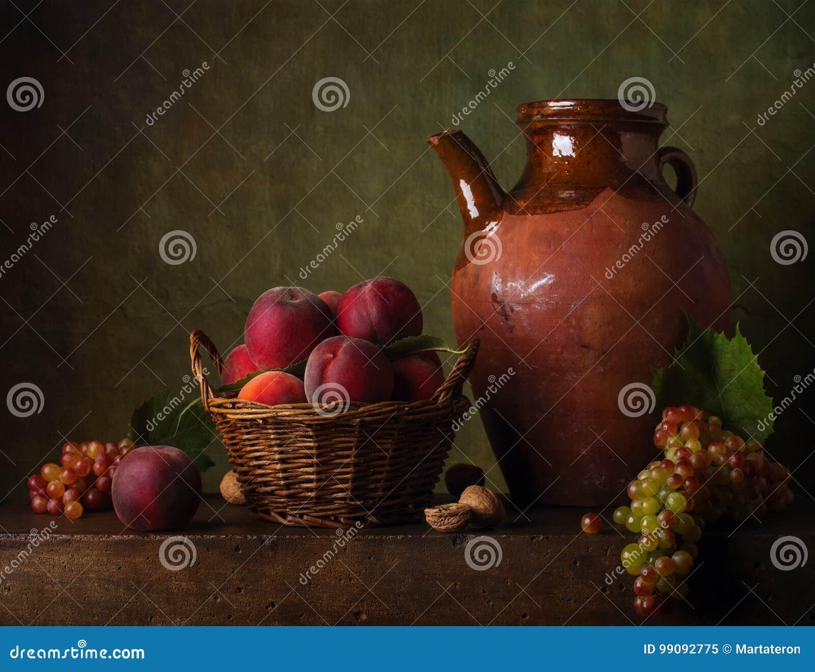 Stilleben med päron och druvor