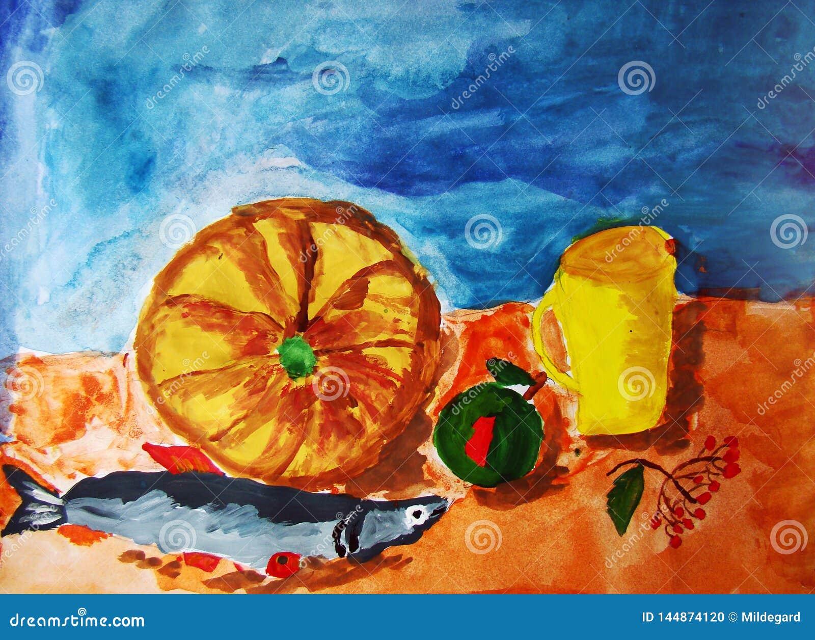 Stilleven met pompoen en vissen door kind wordt geschilderd dat