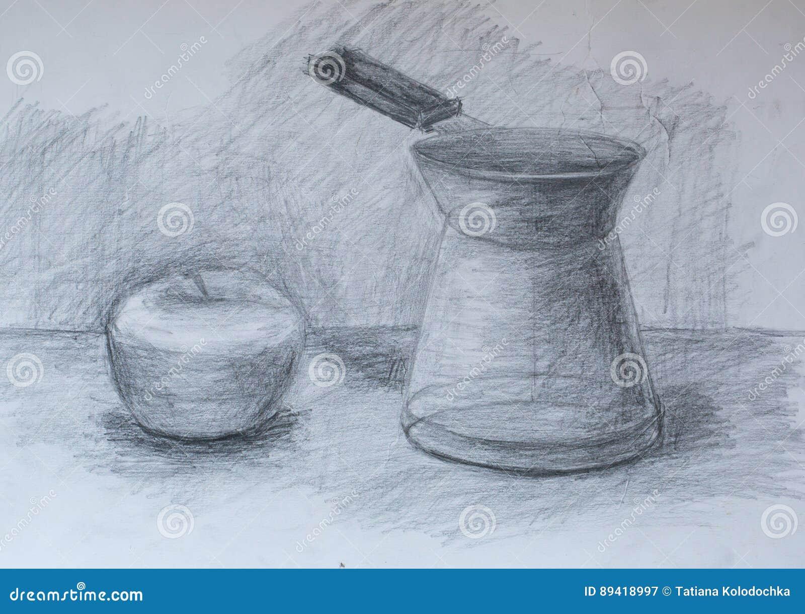 Stillleben Bleistift Zeichnung Stock Abbildung Illustration Von
