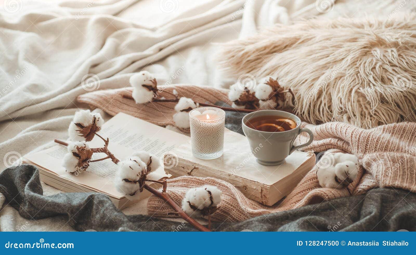 Stillleben im Hauptinnenraum des Wohnzimmers Strickjacken und Tasse Tee mit einem Kegel auf den Büchern gelesen Gemütliches Herbs