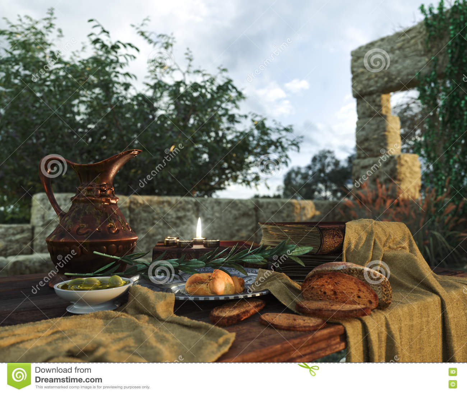 Stilllife με τις αρχαίες καταστροφές, τα βιβλία, την ελιά και τη στάμνα