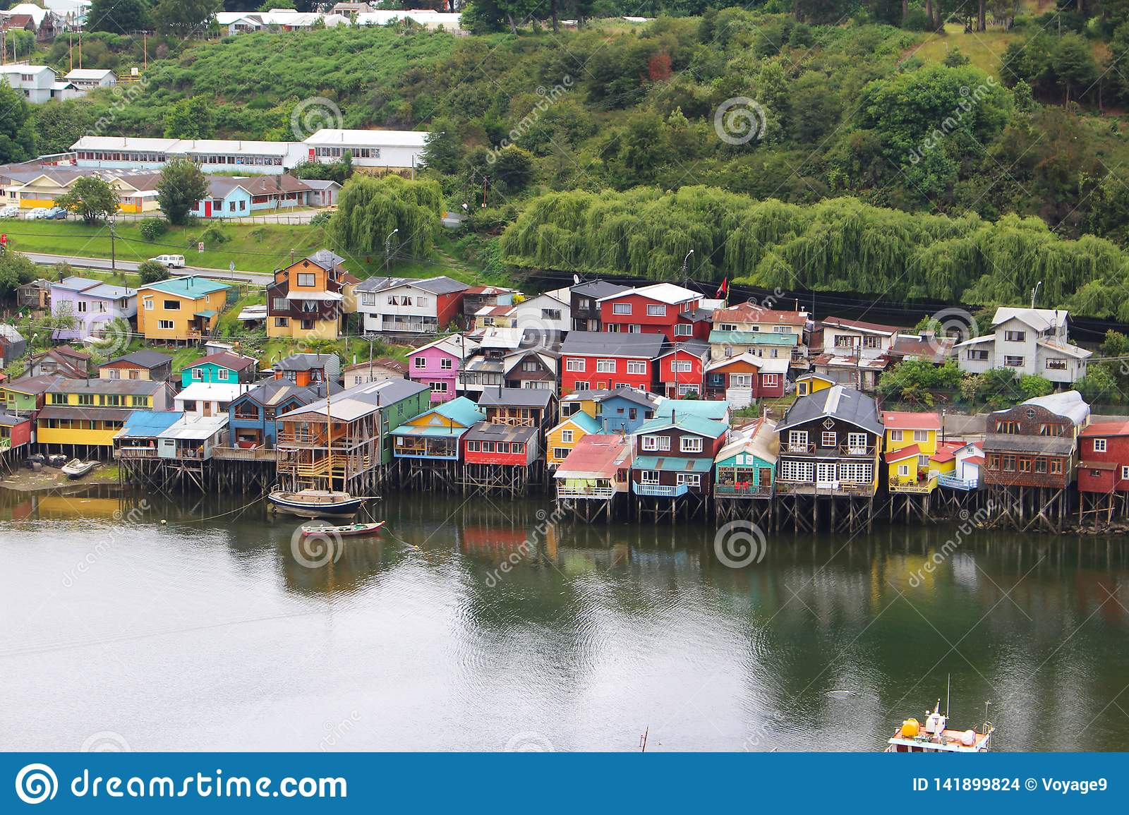 Stilt houses of the small town of Castro in Chiloe island in Chile