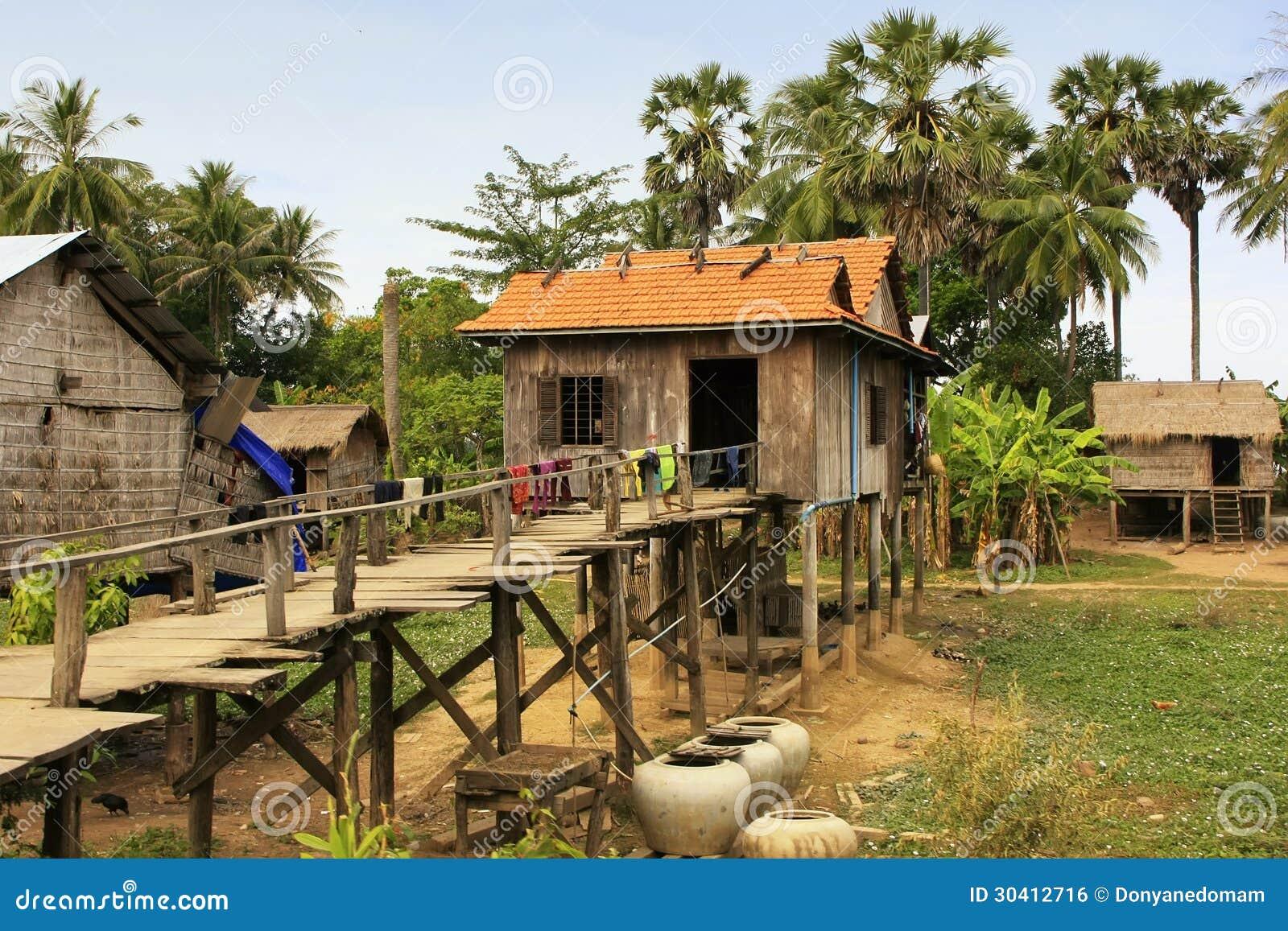 Bahay Kubo Design Stilt Houses In A Small Village Near Kratie Cambodia