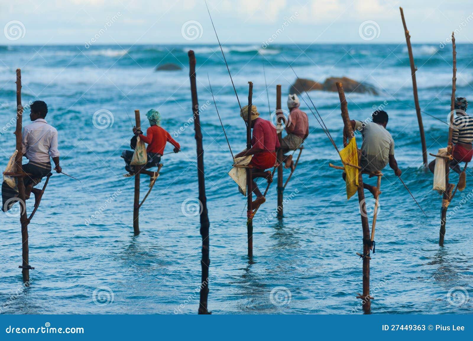 Stilt Rybaków Sri Lanka Tradycyjny Połów