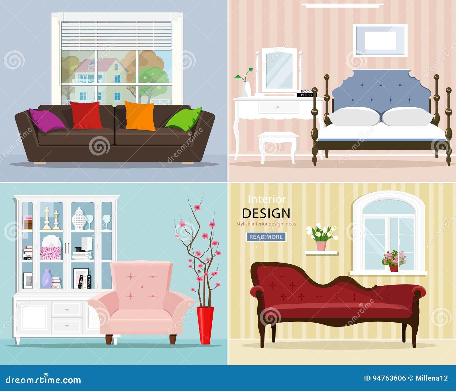 Stilvoller Grafischer Raum Eingestellt: Schlafzimmer Mit ...