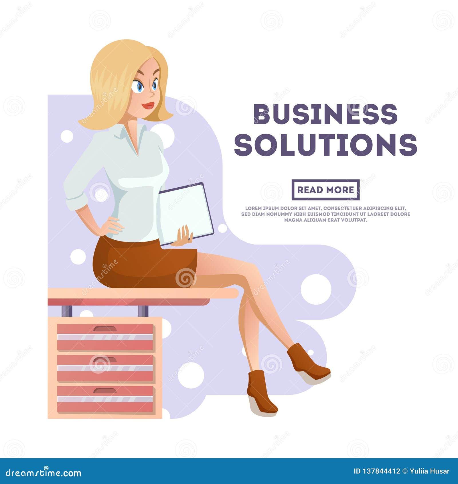 Stilvoller junger schöner Sekretär in der eleganten Bürokleidung Nette KarikaturGeschäftsfrau mit Dokumenten Vektor