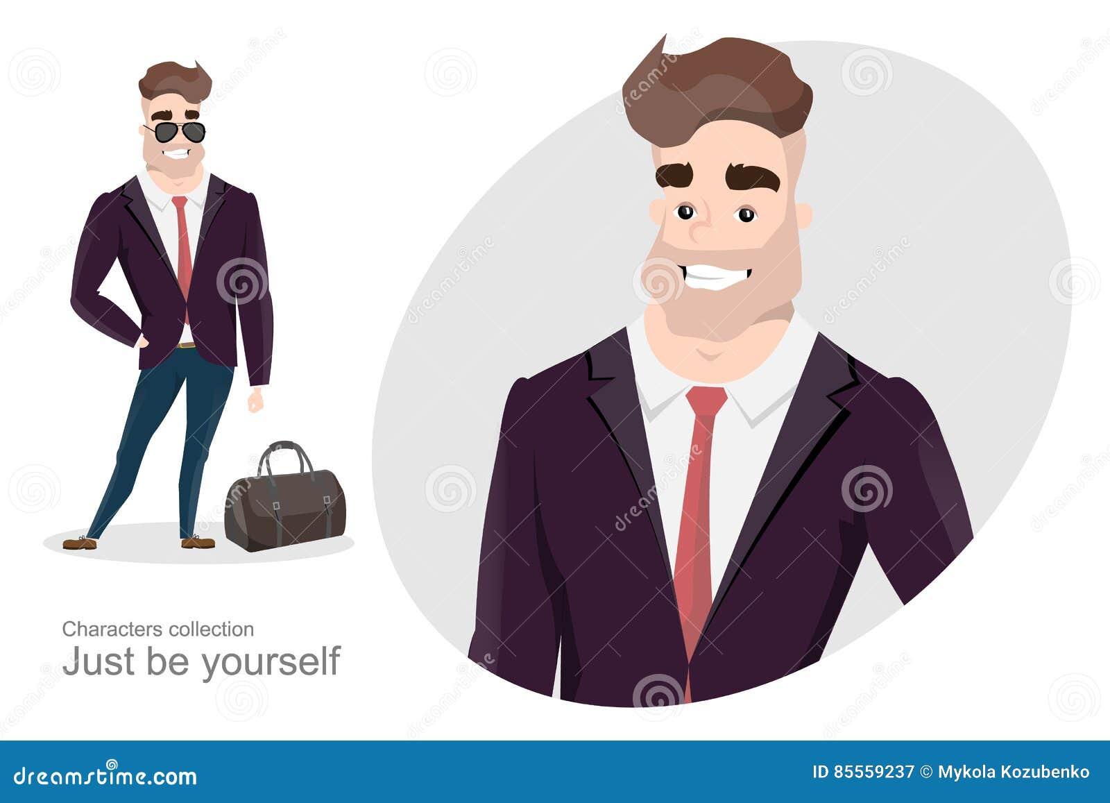 Stilvoller Mann im Anzug mit einer Tasche