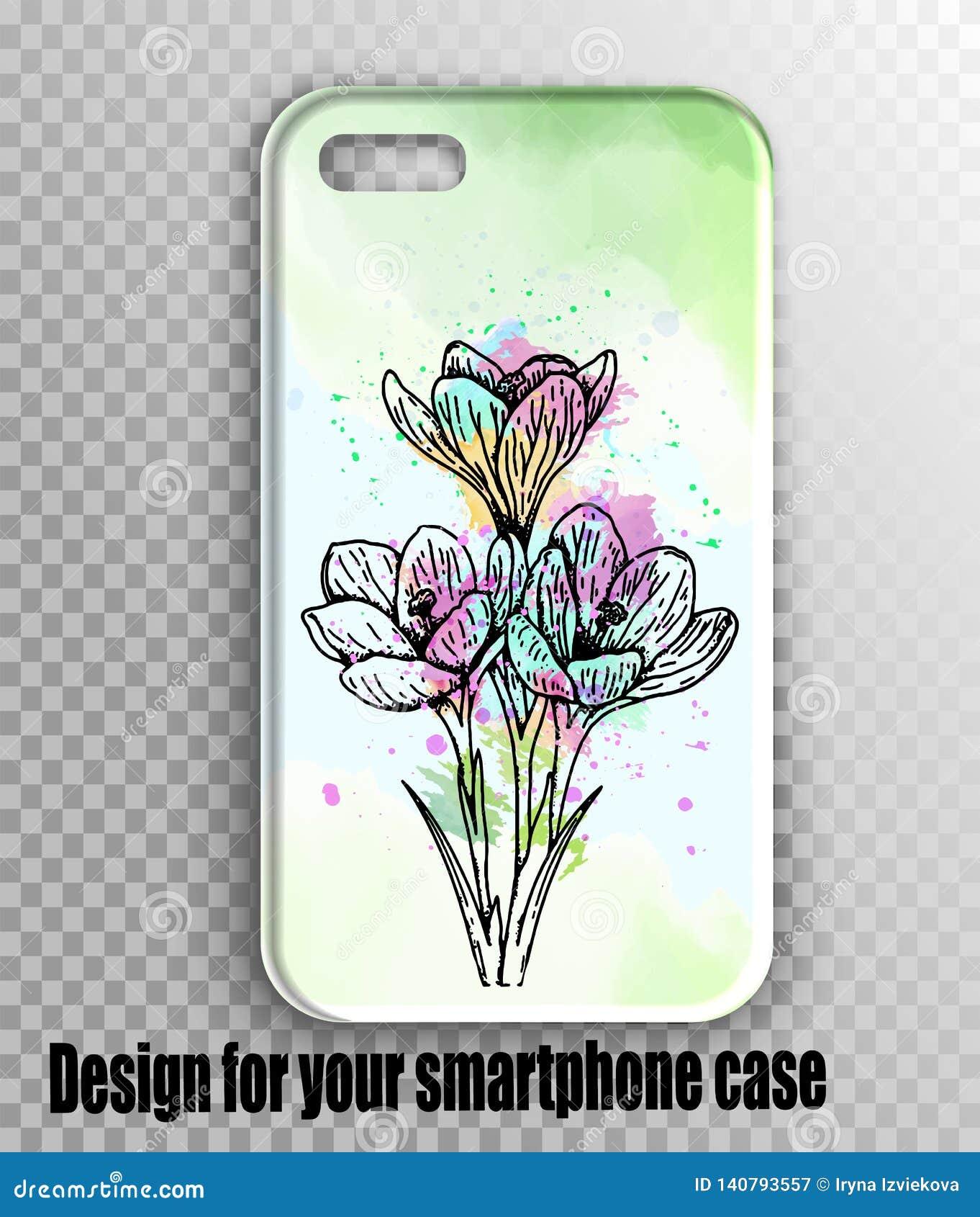Stilvolles Vektor iphone Abdeckungsmodell - Aquarellgrün, frischer Druck des Frühlinges mit Blumen