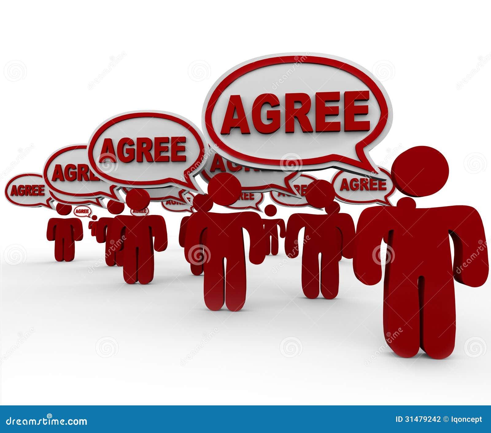 Stimmen Sie Wort-Sprache-Blasen-Gruppen-Leute-Vereinbarung zu
