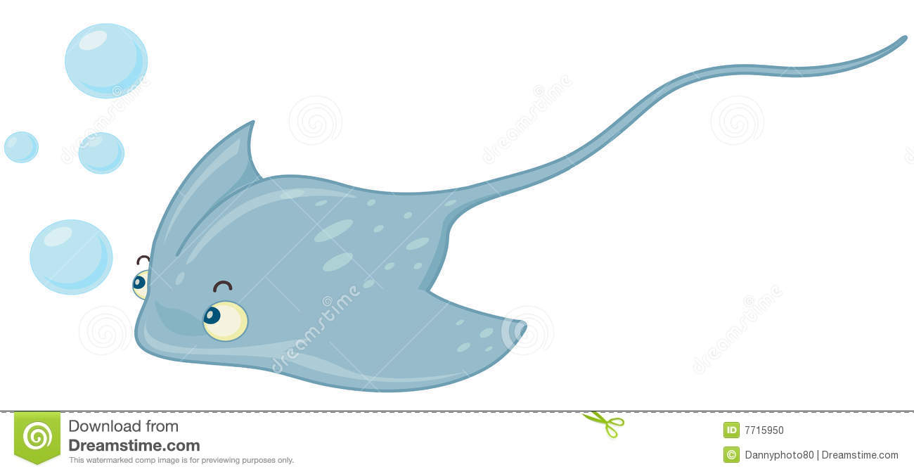 Illustratiion of blue stingray swimming.