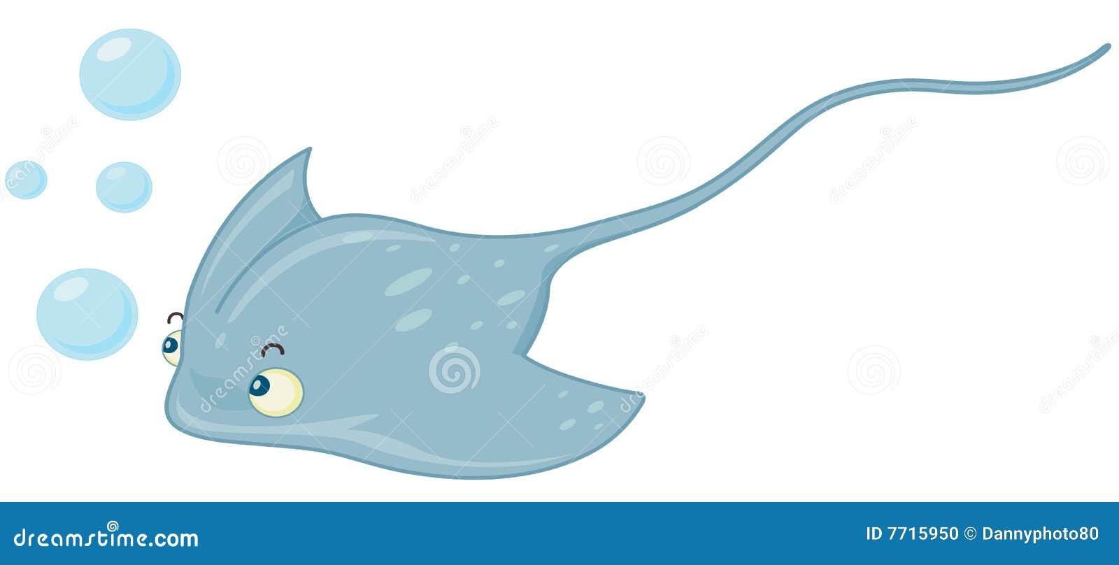 Illustratiion of blue stingray swimming.
