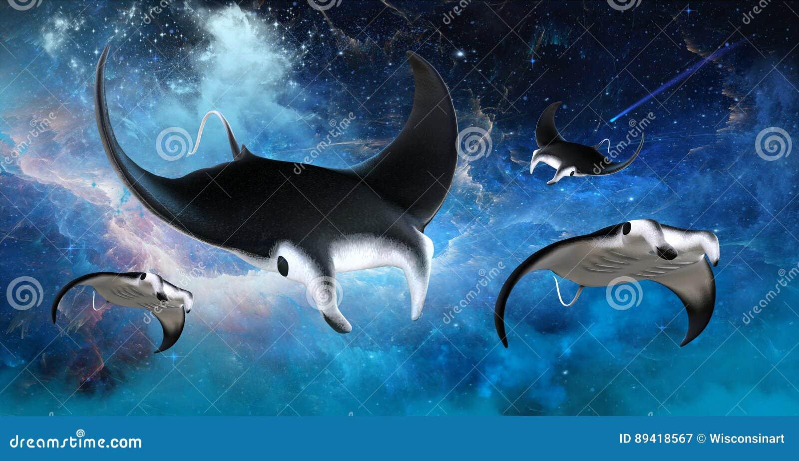 Stingray di manta dello spazio cosmico di volo