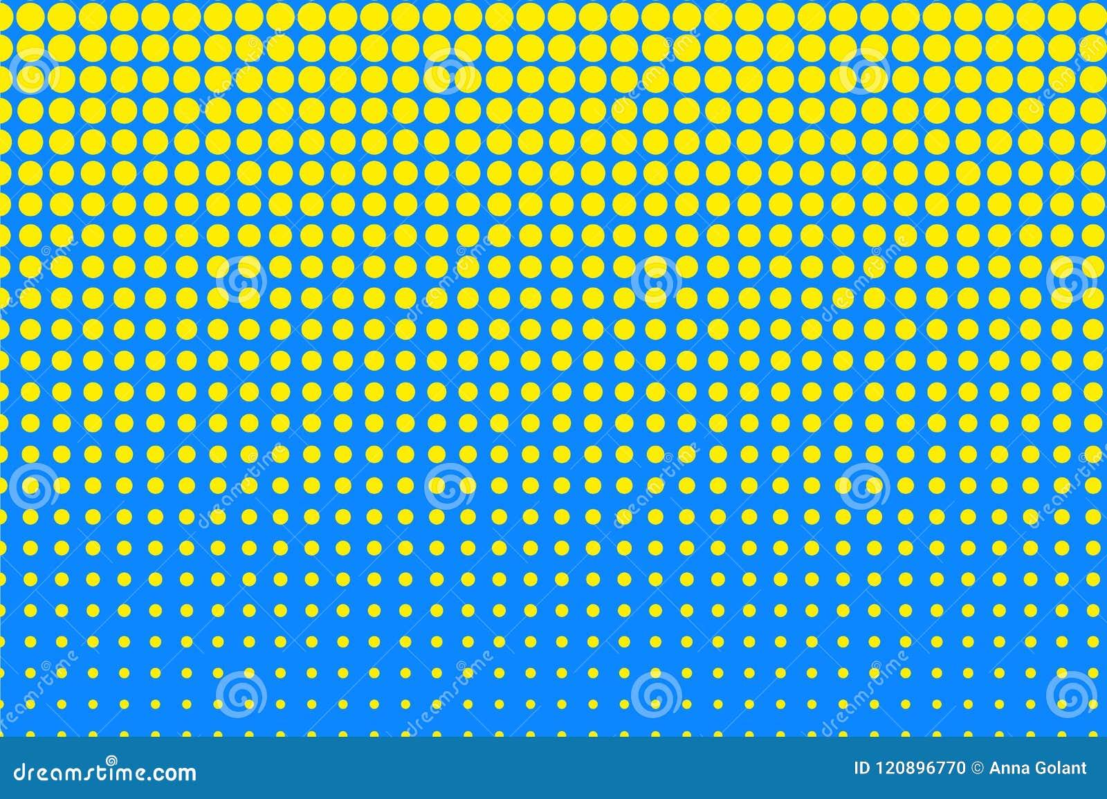 Stip halftone patroon Gele cirkels, punten op blauwe achtergrond Vector illustratie
