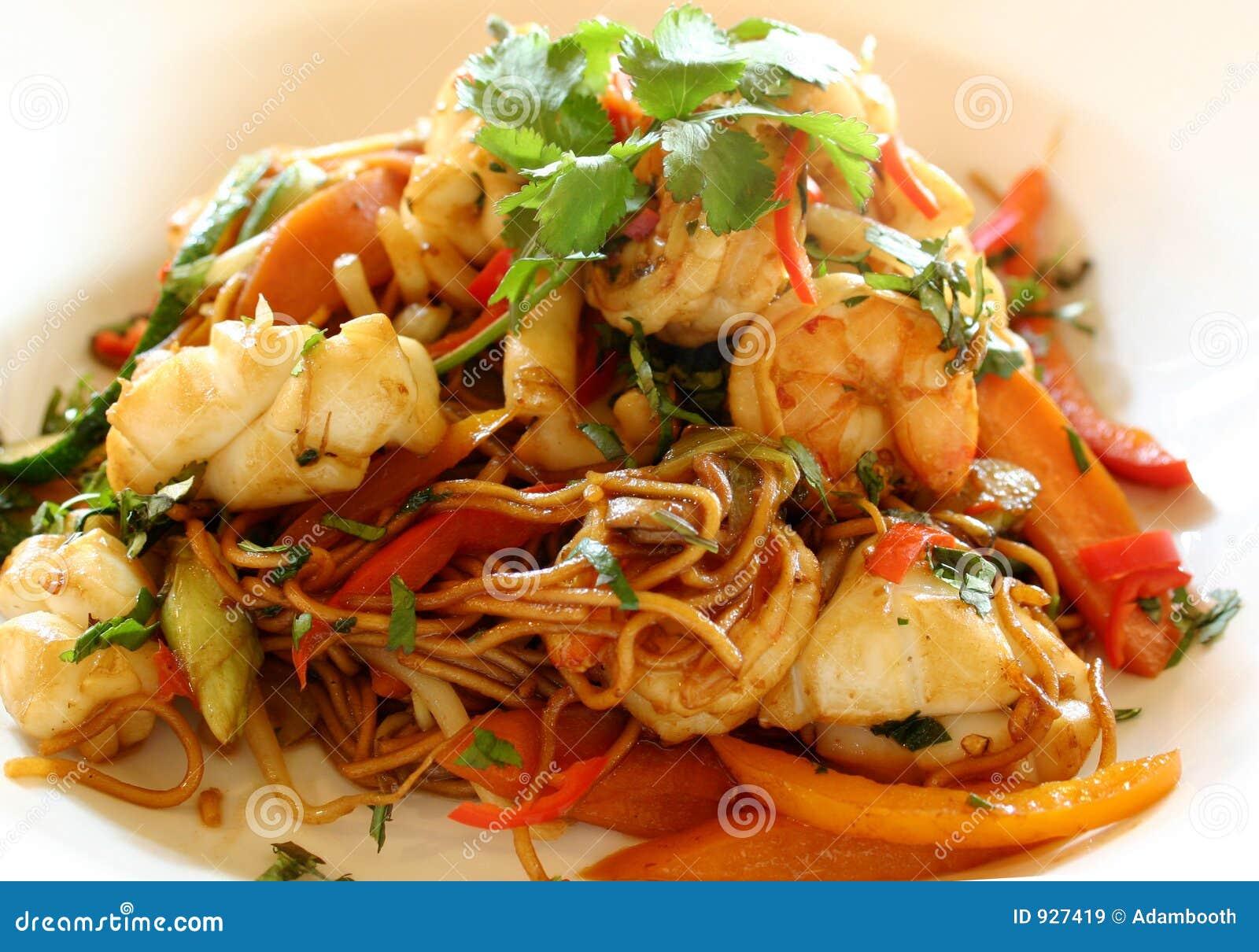 Stir продуктов моря fry