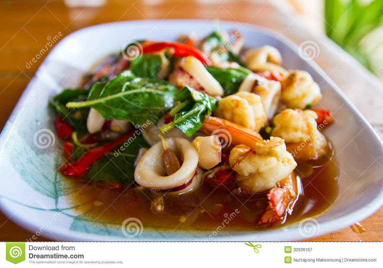 thai basil squid thai basil squid thai squid with holy basil thai ...