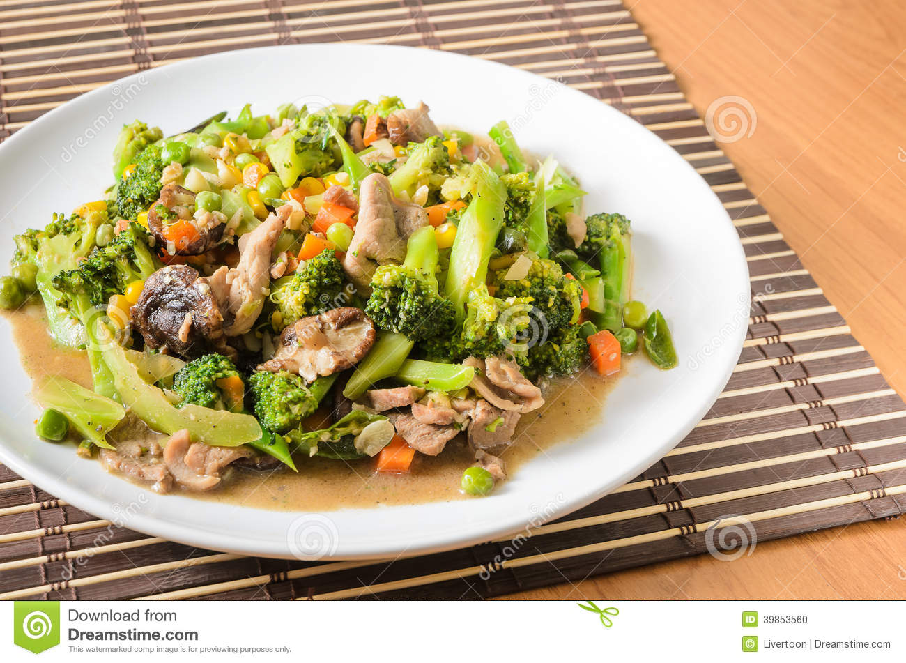 Stir fried Broccoli ,Carrot, Sweet corn, Green Bean