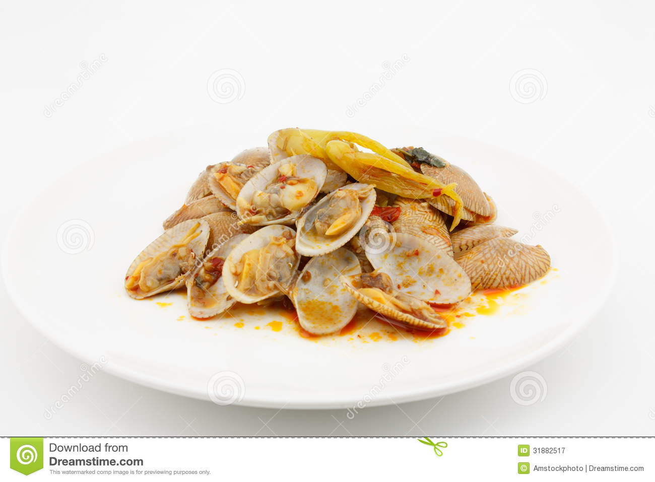 Stir Fried Clams With Roasted Chili Paste,thai Food Royalty Free Stock ...