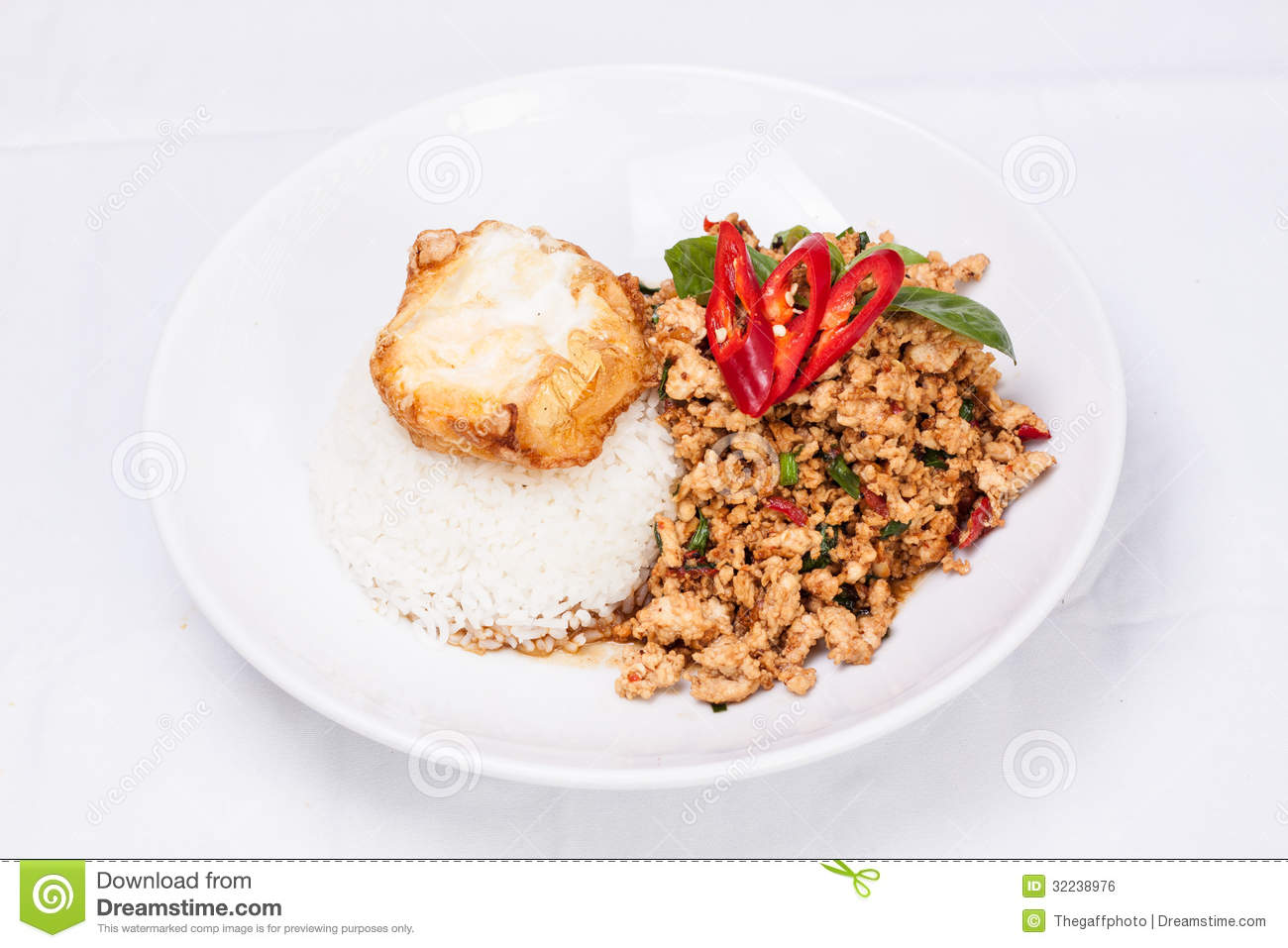 stir-fried-ground-chicken-chilli-basil-sauce-server-rice-egg-thai ...