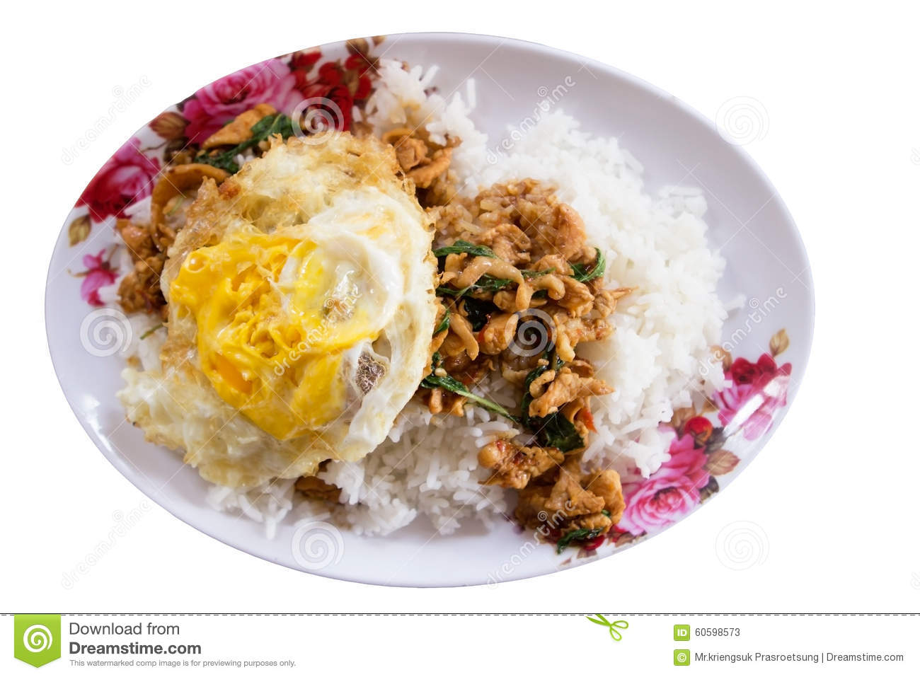 Stir-fried Minced Pork With Holy Basil And Steamed Rice ...
