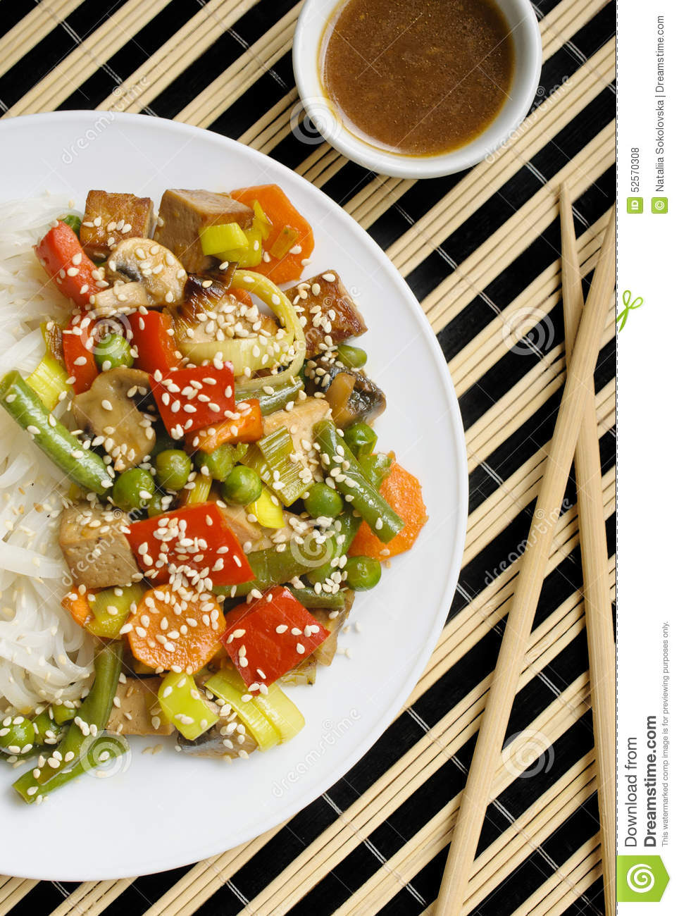 Vietnamese Noodle Salad With Stir-Fried Tofu And Vegetables Recipe ...