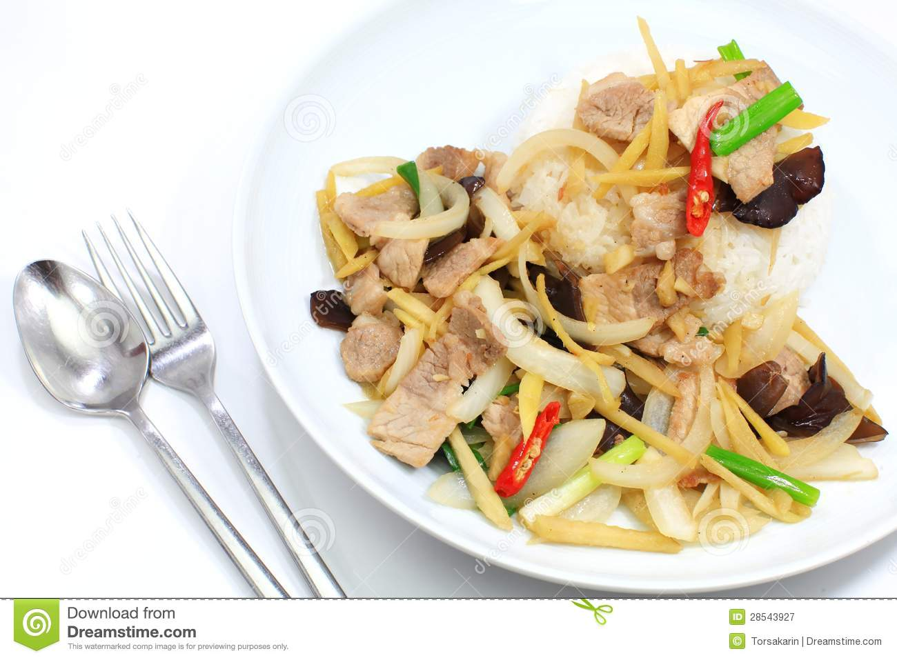 Stir Fried Pork With Ginger And Mixed Vegetables Royalty Free Stock ...