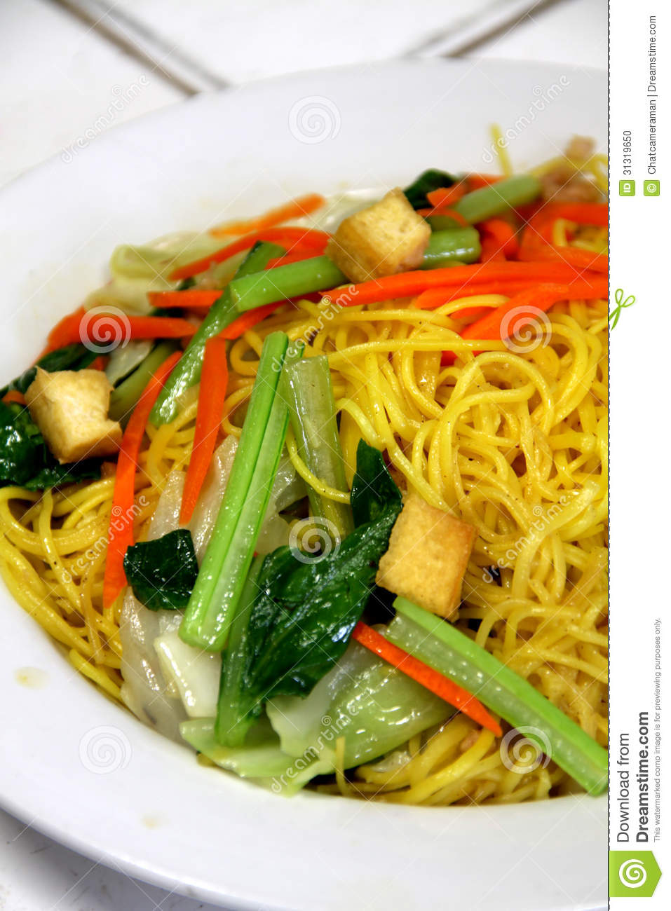 Delicious Stir-fried rice noodles colorful appetizing and Yummy on ...
