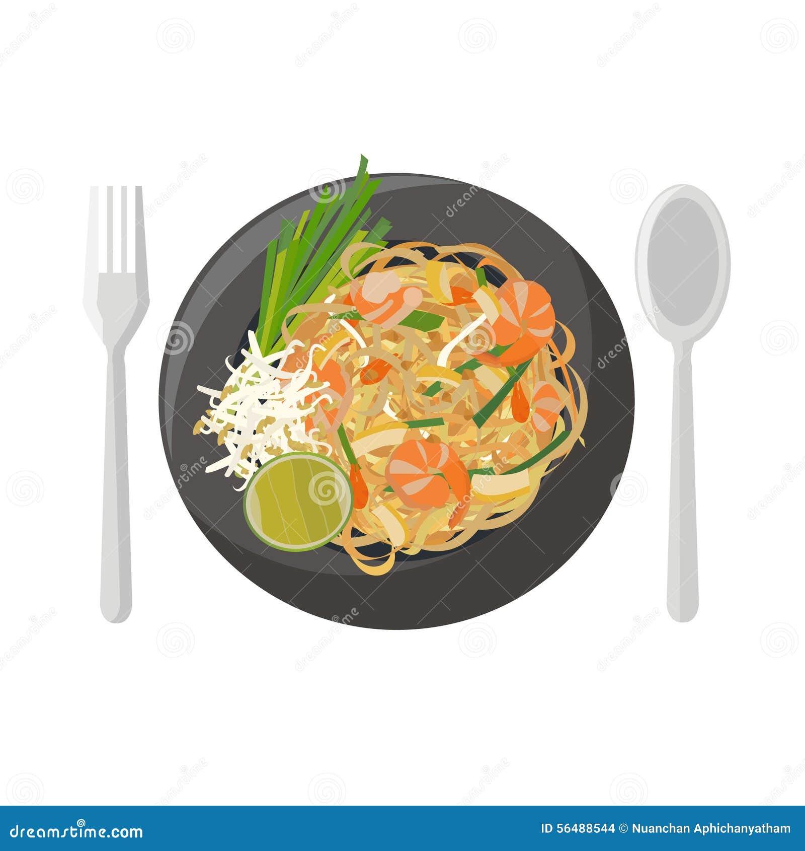 thai food stir fried rice noodles  pad thai  stock vector Shrimp Border Shrimp Boat Clip Art