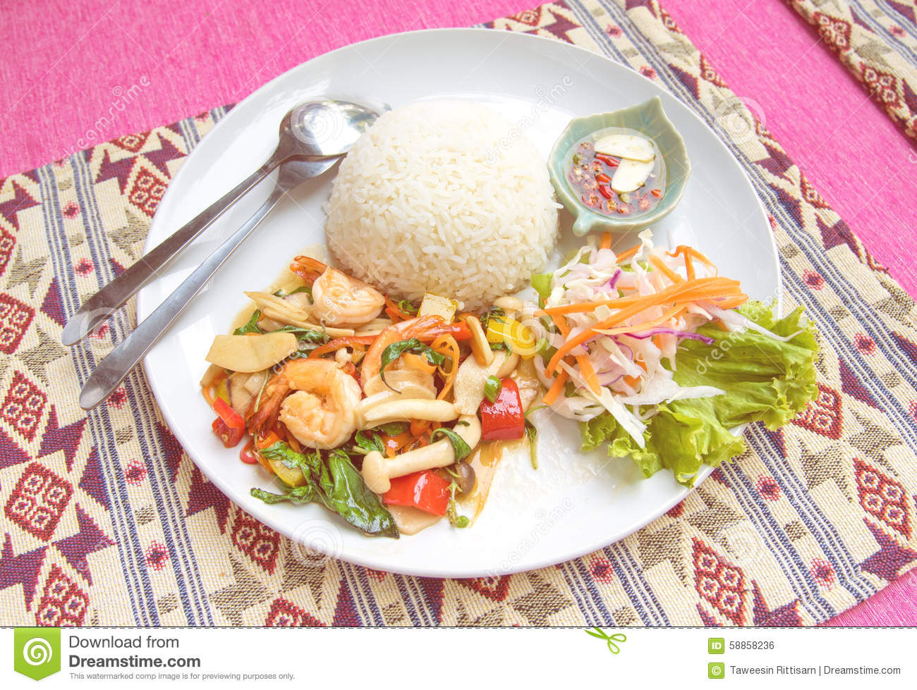 Stir fried shrimp with holy basil and rice set serve with for What to serve with fish