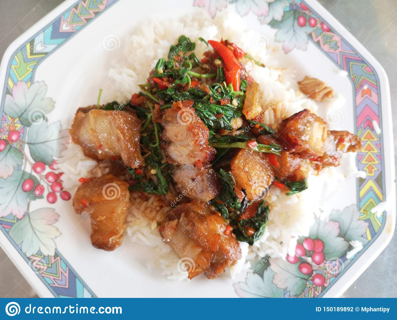 Stir Fried Spicy Crispy Pork with Thai Basil