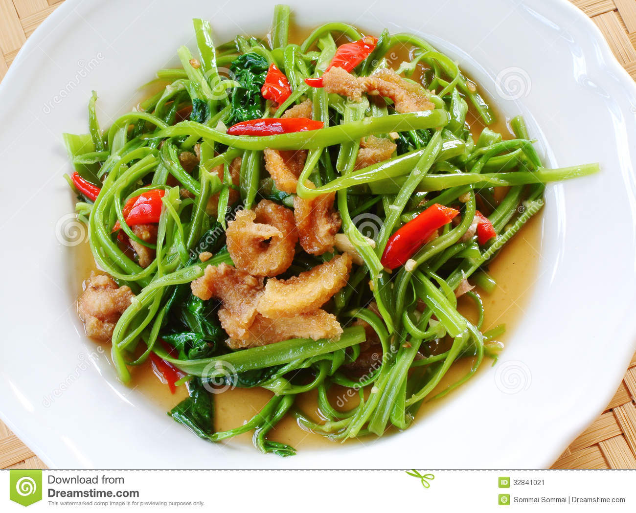 Stir fried water spinach stock image image 32841021 for About thai cuisine