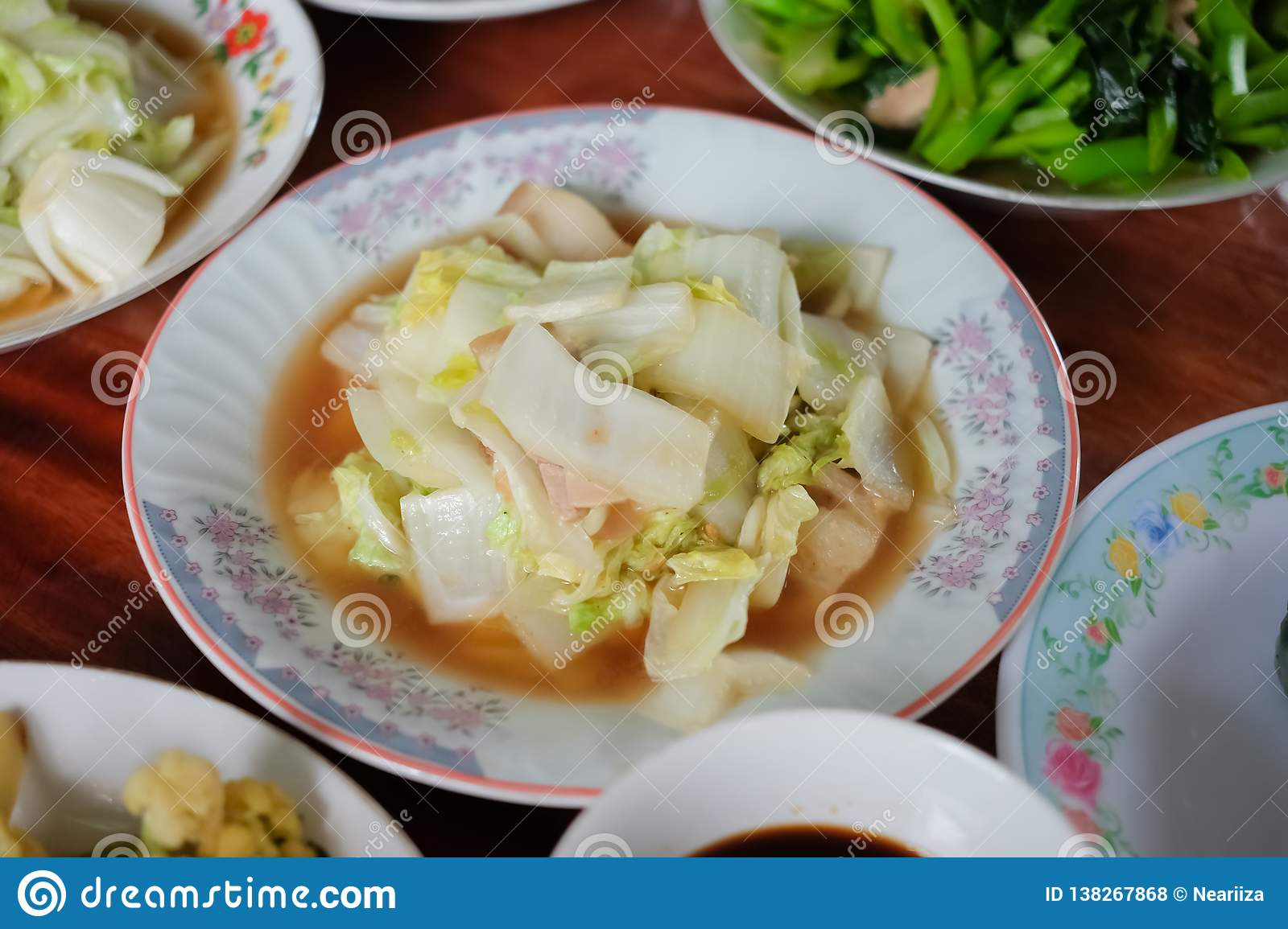 Stir Fry Cabbage with Oyster Sauce Recipe on a plate for Chinese new year, Chinese Ghost Festival