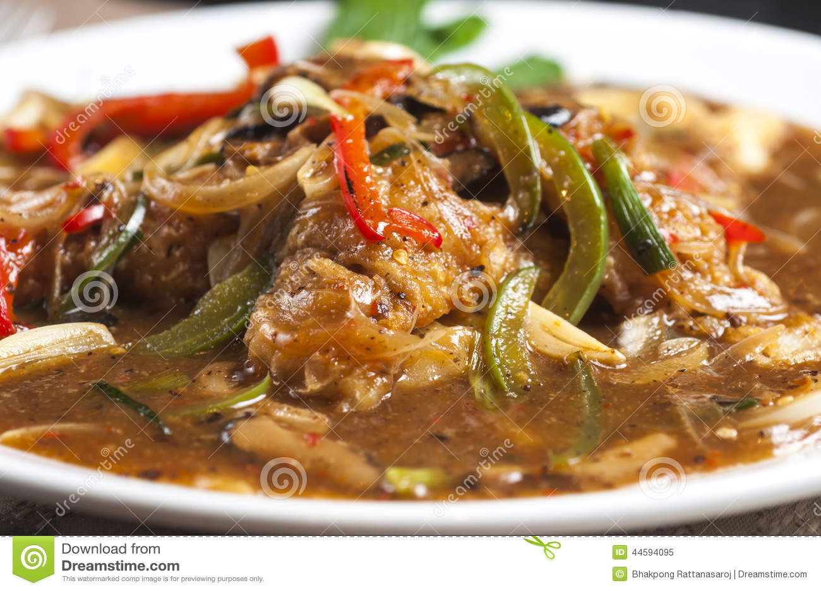 Stir-Fry Rice Noodles With Black Bean Sauce Stock Photo - Image ...