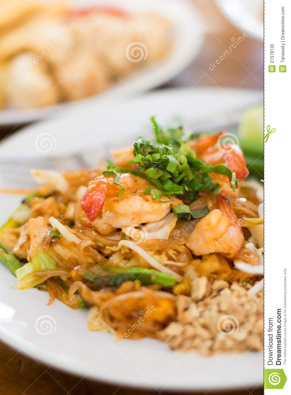 Stir Fry Rice Noodles And Shrimp Royalty Free Stock Photo - Image ...