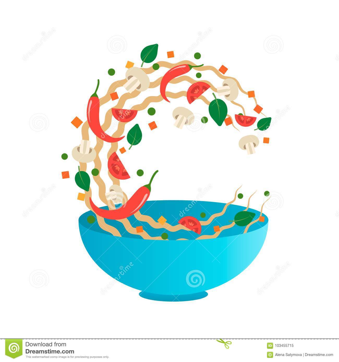 Stir fry vector illustration. Flipping Asian noodles with vegetables in a blue bowl. Cartoon style