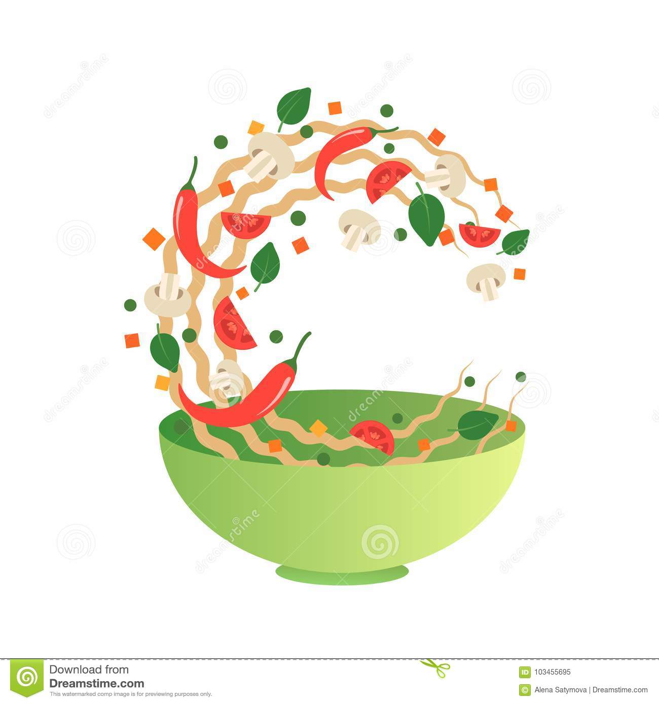 Stir fry vector illustration. Flipping Asian noodles with vegetables in a green bowl. Cartoon style