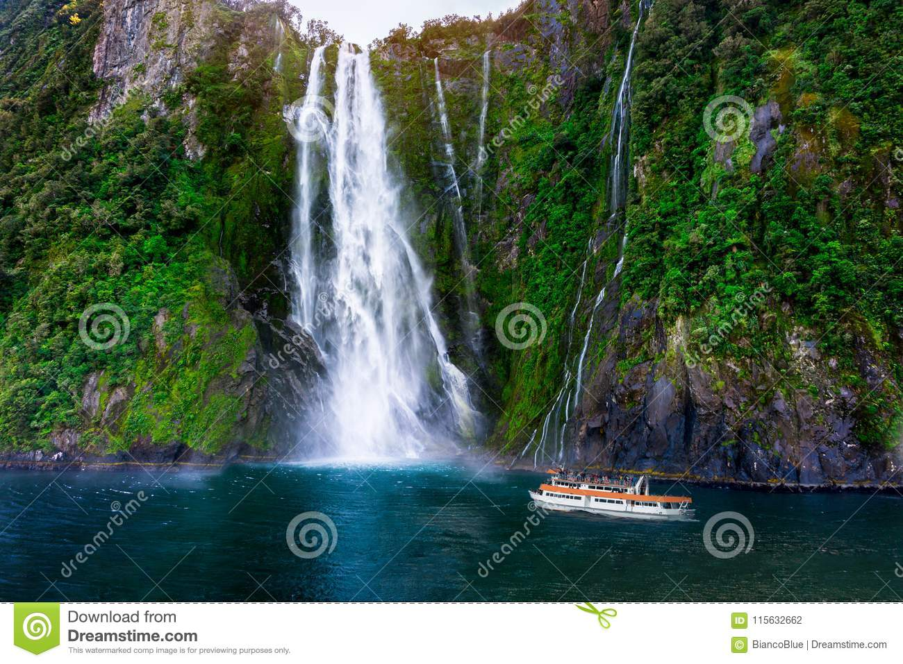Stirling Falls At Milford Sound New Zealand Stock Photo Image Of