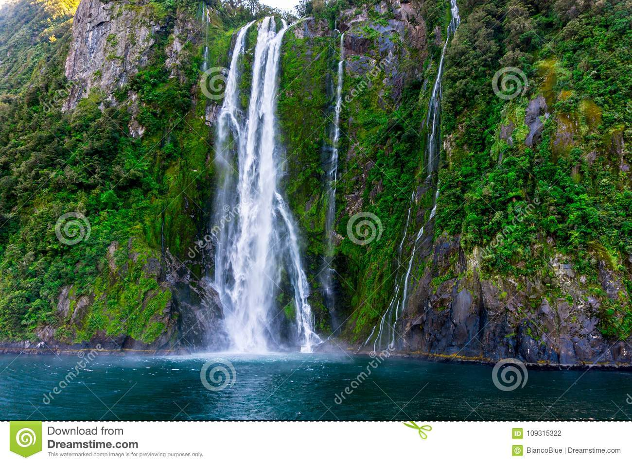 Stirling Falls At Milford Sound In New Zealand Stock Photo Image