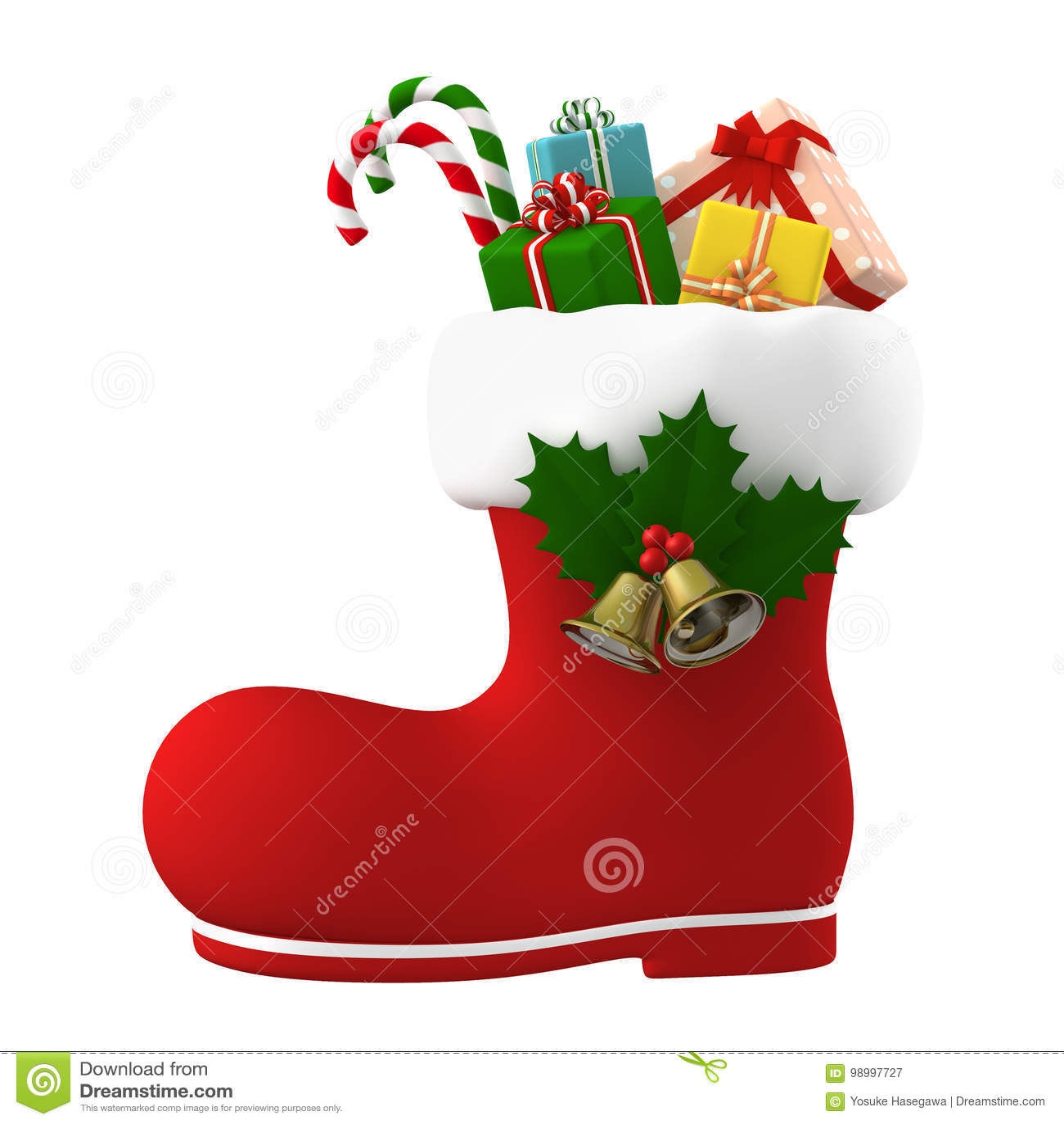 Stivale di Santa Claus farcito con i presente illustrazione 3D
