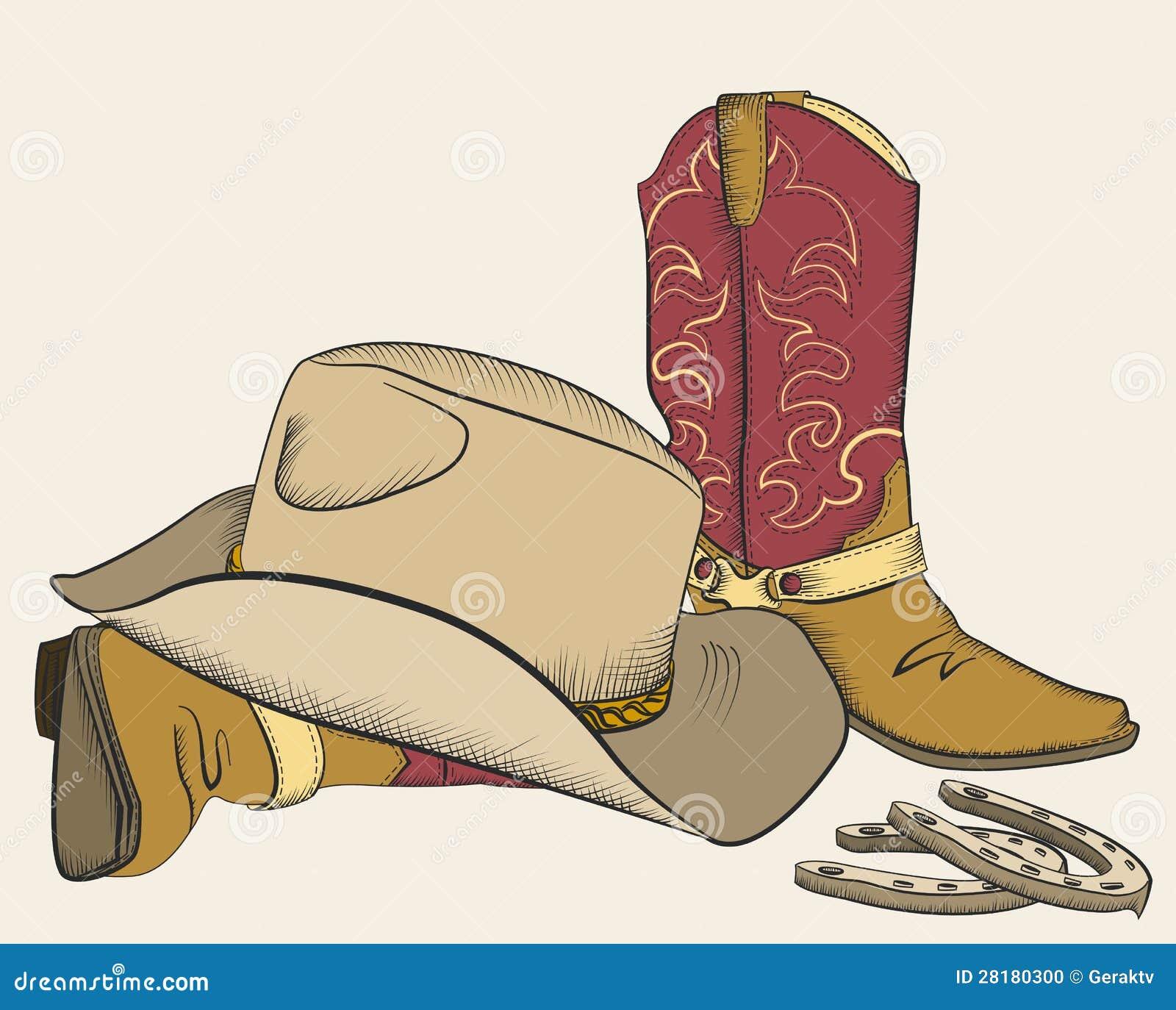 Stivali e cappello di cowboy per il disegno.