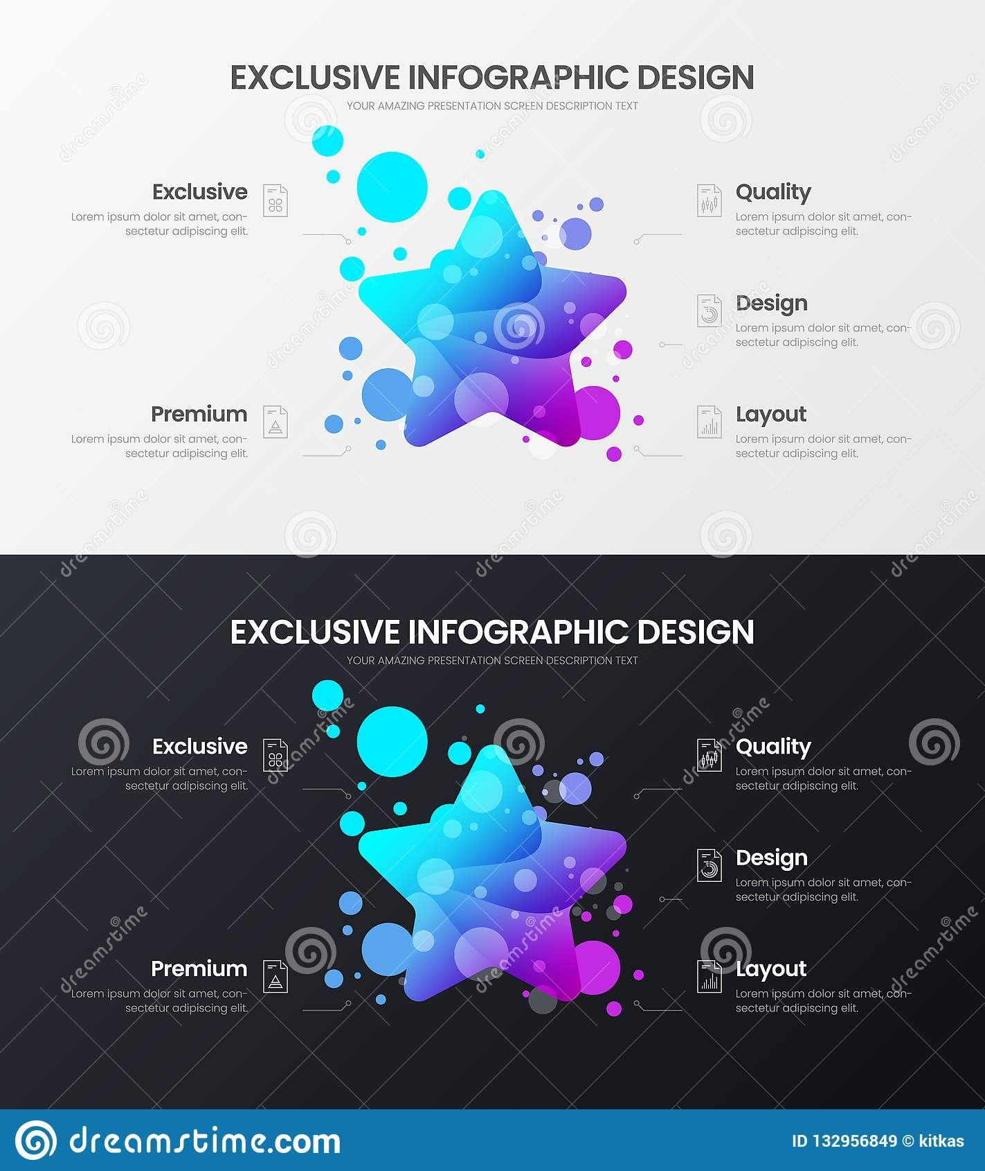 Stjärna för 5 alternativ som marknadsför mallen för analyticsvektorillustration Uppsättning för orientering för affärsdatadesign