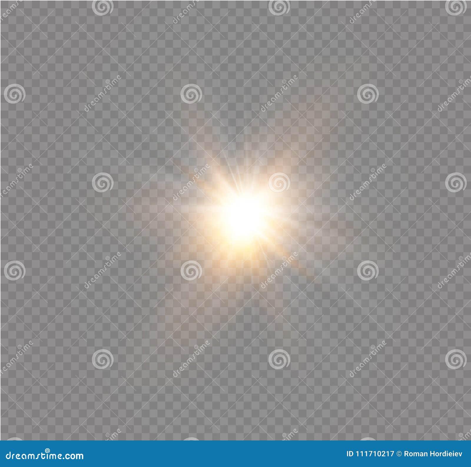 Stjärna på en genomskinlig bakgrund, ljus effekt, vektorillustration bristningen med mousserar
