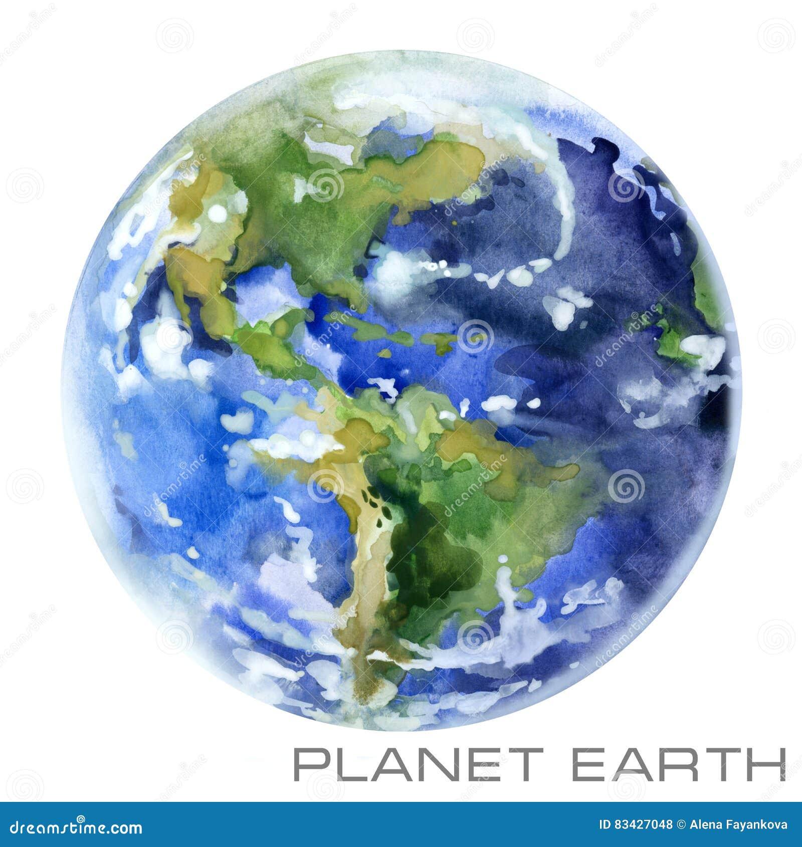 Stjärnor för planet för bakgrundsjord fulla Jordvattenfärgbakgrund